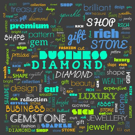 diamond word cloud,text, word cloud use for banner, painting, motivation, web-page, website background, t-shirt & shirt printing, poster, gritting, wallpaper (illustration) 스톡 콘텐츠