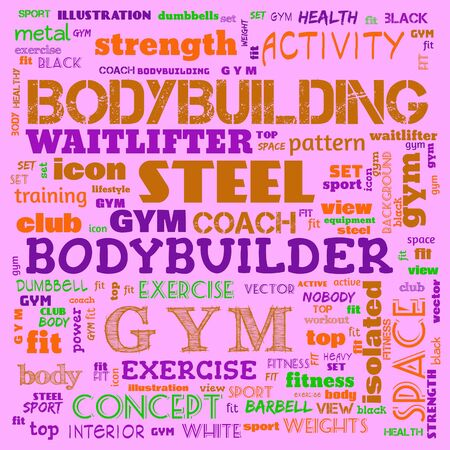 gym, body building, weight lifting, sports word cloud, this word cloud use as banner, painting, motivation, web-page, website background, t-shirt, shirt, print, poster, gritting, illustration. Reklamní fotografie