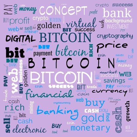 bit coin text, word cloud,word cloud use for banner, painting, motivation, web-page, website background, t-shirt & shirt printing, poster, gritting (illustration)