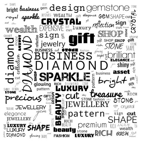diamond word cloud,text, word cloud use for banner, painting, motivation, web-page, website background, t-shirt & shirt printing, poster, gritting, wallpaper (illustration) Stock fotó