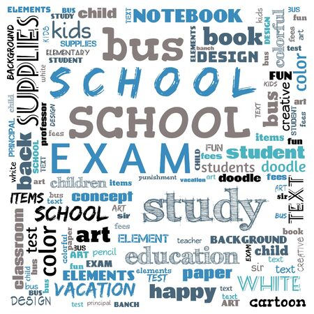 back to the school word cloud, word cloud for school life, this word cloud use for banner, painting, motivation, web-page, website background, t-shirt, shirt, print, poster, gritting, illustration. Stock fotó