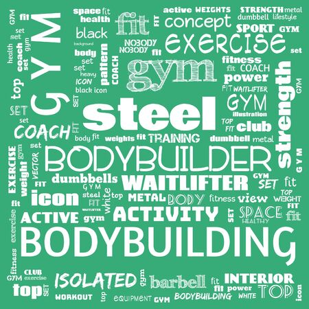 gym, body building, weight lifting, sports word cloud, this word cloud use as banner, painting, motivation, web-page, website background, t-shirt, shirt, print, poster, gritting, illustration. 版權商用圖片