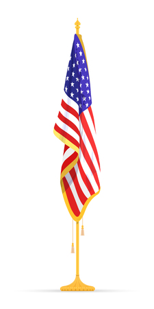 The USA Flag in the Cabinet, hanging on the rack in the room of the American President. The theme of patriotism for Constitution Day. Vector illustration.
