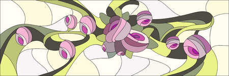 꽃과 장미의 스테인드 글라스 스타일. 창문 또는 문을위한 직사각형 프레임 벡터 일러스트 레이션