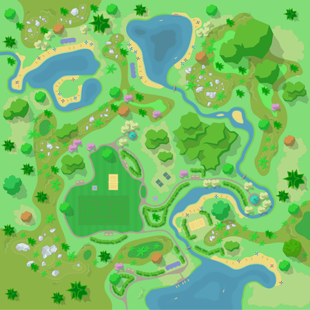 Site improvement Landscape and tourist camp in the forest. (Top view) Mountains, stones, hills, river, trees, plants, boats, lake, beach. (View from above). Terrain design. Vector illustration.