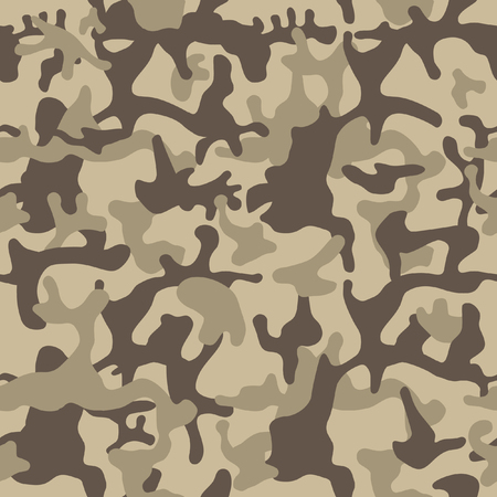 Camouflage pattern background. Seamless vector illustration. Classic clothing style masking camo repeat print. Beige, brown, ocher colors forest texture.