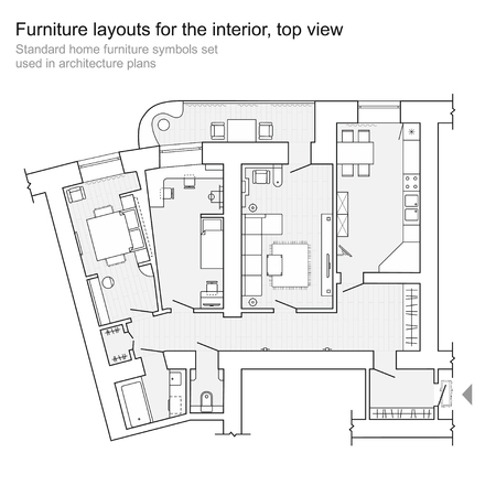 Set Von Möbeln Draufsicht Für Wohnungen Planen. Das Layout ...