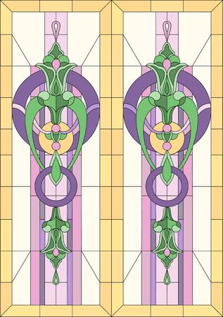 様式化された花の幾何学模様のステンド グラス。窓やドアの長方形フレーム。古典的なスタイルです。ベクトルの図。  イラスト・ベクター素材