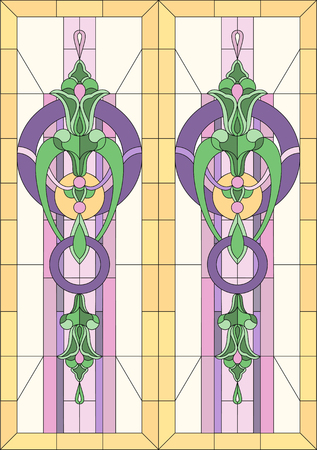 Stained glass with geometric patterns of stylized flowers. In a rectangular frame for a window or door. Classical style. Vector Illustration.