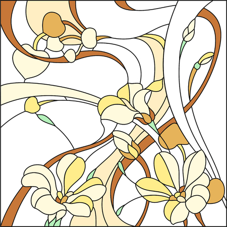 Colored stained-glass window in a square frame, abstract floral arrangement of buds and leaves in the art Nouveau style