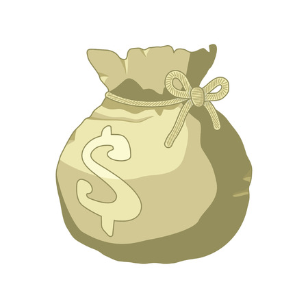 moneybag: Money bag or sack cartoon style icon with dollar sign isolated on white background. Vector illustration