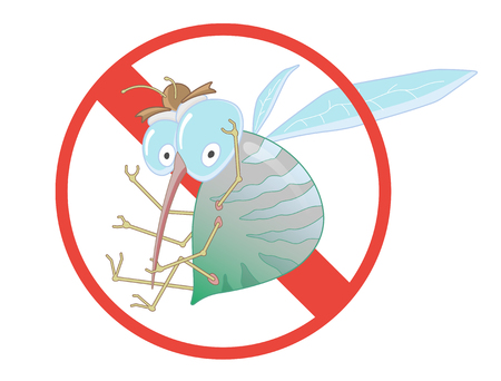 Stop Mosquito - Sign. Vector Illustration for Label for Insect Control Service. Angry Mosquito. Funny cartoon.