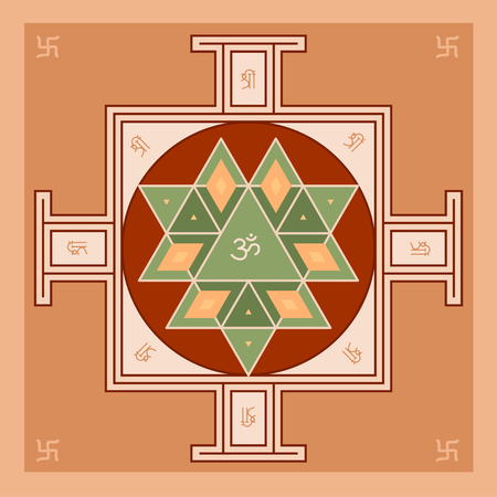 sanskrit: Sri Yantra is the symbol of Hindu tantra formed by interlocking triangles that radiate from the central point. Sacred geometry. Vector illustration of mystical diagram.