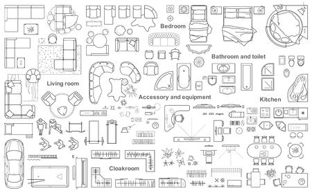 Zestaw mebli widok z góry na plan mieszkania. Układ projektu mieszkania, rysunek techniczny. Ilustracje wektorowe