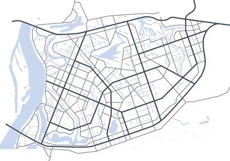 抽象的な都市マップ。道路の架空方式のマップ。ベクトルの背景。