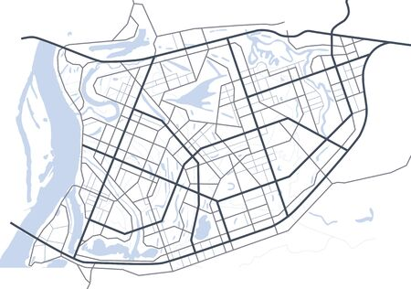 Abstract city map. Map of the fictitious scheme of road. Vector background. Illustration