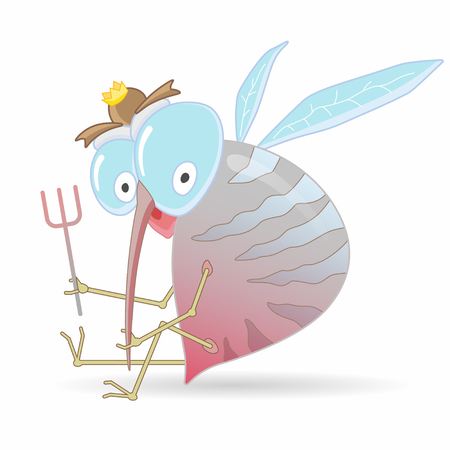 Cartoon hungry mosquito holding fork. Cartoon vector illustration. Illustration