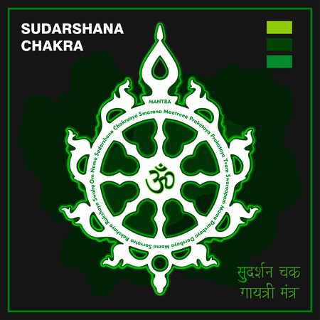Sudarshan Chakra. Fiery disc, attribute, weapon of Lord Krishna. A religious symbol in Hinduism. Translation of the Sanskrit, bottom right (Sudarshan Chakra Gayatri Mantra). Vector illustration.