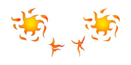 Cone do sol, o padrão corajoso estilizado. Etiqueta sol com raios. Ilustração do vetor Foto de archivo - 81225652