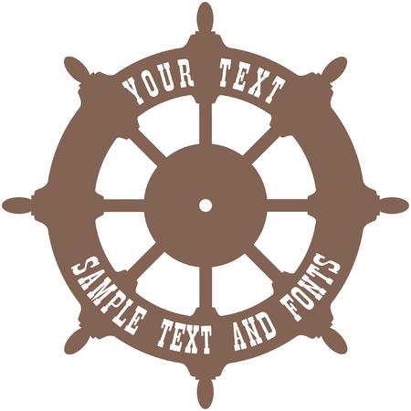 Fond de vecteur de barre de navire. Volant de bord avec un espace vide pour votre texte. Vecteurs