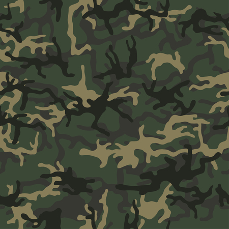 Green camouflage pattern background. Seamless green camouflage. Classic green army clothing style. Forest masking camo. Green brown black olive colors military texture. Vector.