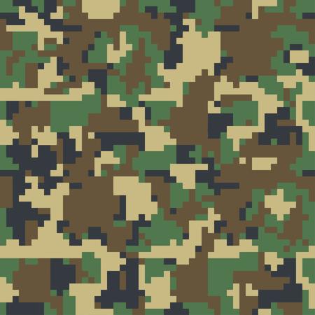 Pixel camuflaje Patrón de camuflaje sin costuras. Textura de camuflaje militar Verde marrón. Bosque, soldado, camuflaje. Diseños de impresión de textiles de tela de vector. Camo verde de 8 bits. Ilustración de vector