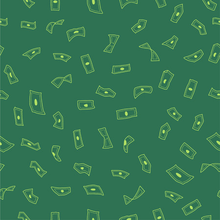 Wallpaper flying dollars, green background, rain, seamless pattern, vector illustration