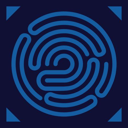 ide: Fingerprint scanning - digital biometric security system, data protection, access. Vector