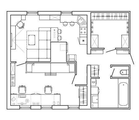 Architectural plan of a house. Layout of the apartment with the furniture in the drawing view. With kitchen and bathroom, living room and bedroom. Interior design icon in top view. Floor plan, vector