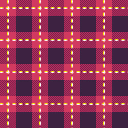checker: Lumberjack plaid pattern. Seamless vector background. Alternating overlapping of dark and colored cells. Template for clothing fabrics. Plaid Tartan textile. Illustration