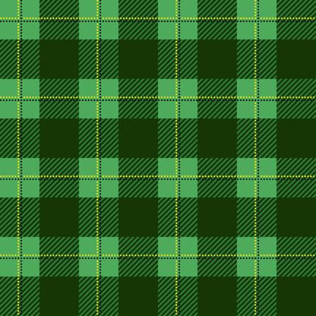緑の木こり格子縞のパターン。シームレスなベクトルの背景。黒と色の細胞の重複する交互になります。衣料品の生地のテンプレートです。格子縞  イラスト・ベクター素材