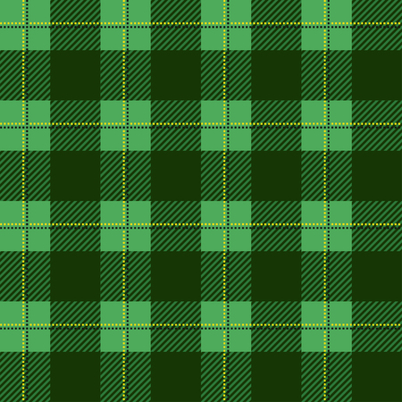 Green lumberjack plaid pattern. Seamless vector background. Alternating overlapping of black and colored cells. Template for clothing fabrics. Plaid Tartan textile.