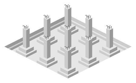 Die Stiftung stapelt sich. Bau von Gebäuden. Isometrische Ansicht. Architekturpläne und Diagramme. Vektor