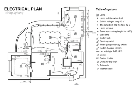 Plan wiring lighting. Electrical Schematic interior. Set of standard icons, electrical symbols for blueprint. Vettoriali
