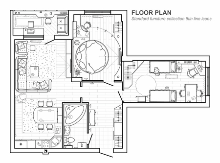 Floor plan with furniture in top view. Architectural set of furniture. Detailed project of the modern apartment. Vector interior blueprint. Vettoriali