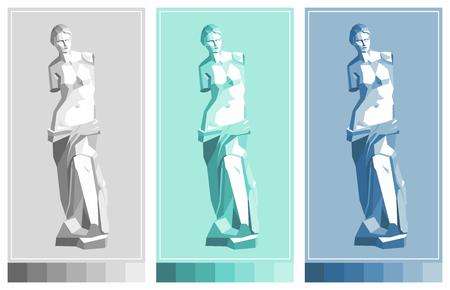 Venus de Milo statue. Aphrodite - goddess of love. Vector drawing