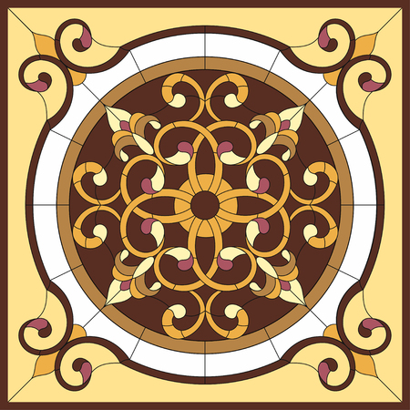 Stained glass window. Abstract flower in a square frame, geometric, window on the ceiling in a square frame, symmetric composition, vector illustration.