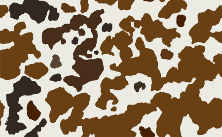 Cow skin in brown and white spotted, seamless pattern, animal texture. Stock vector