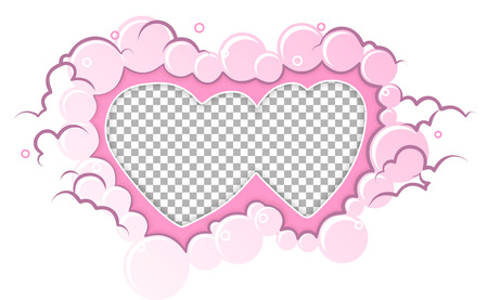 Romantic pink frame hearts template. Vector illustration for love holiday design. Empty hearts for photo. Wedding card, valentine's day greetings, lovely frame.