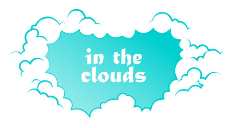 Frame of blue and white clouds, cartoon style. Background with blank place for text. Vector stock illustration.