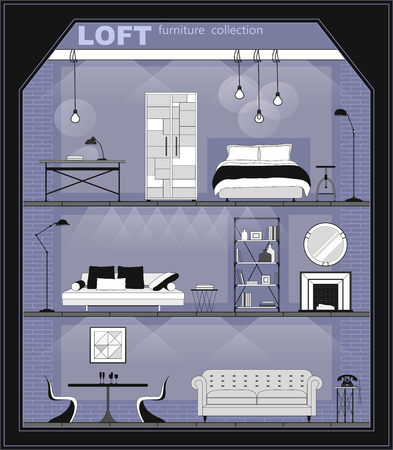 Set of apartment interiors with furniture icons, black and white. Detailed interior with living room, bedroom, and hall in loft flat style, front view. Vector illustration.