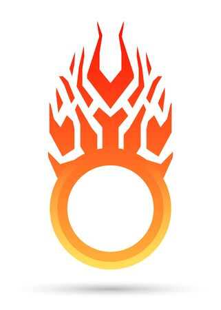 Burning round frame, sale sticker, tag or label. Vector flame logo, icon, symbol design template.