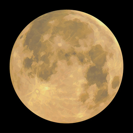 Detailed realistic yellow full moon, isolated on black background. Vector illustration Vettoriali