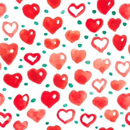 Aquarel harten naadloze achtergrond. Roze-rood aquarel hartpatroon. Kleurrijke aquarel romantische textuur. Behang in de kinderkamer (kinderkamer) Stock Illustratie
