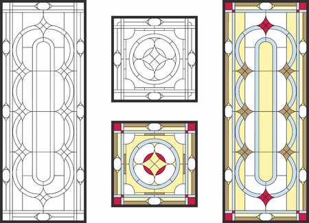 Abstract geometric floral pattern in a rectangular and square frame / Colorful stained glass window in a classic style for a ceiling or door panels. Vector set Illustration