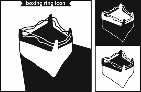 Boxing ring icon in black style isolated on white background. Boxing symbol stock vector illustration.