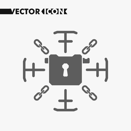 Lock sign with chains. Information security lock concept icon. Security lock symbol for your website design, lock logo, sign, app, UI. Vector.