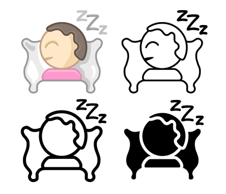 Set Icons of a sleeping person on pillow. Simple, modern flat and thin line vector illustration for mobile app, website or desktop app. 向量圖像