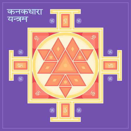 Sri Yantra is the symbol of Hindu tantra formed by interlocking triangles that radiate from the central point. Sacred geometry. Vector illustration of mystical diagram.