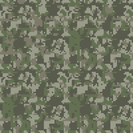 Pixel camo seamless pattern. Green, forest, jungle, urban, brown camouflages. Vector fabric textile print designs